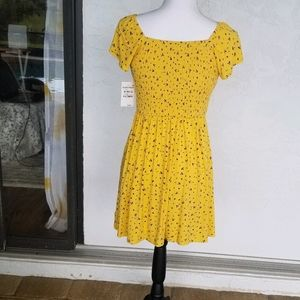 1901 Yellow Ditsy Girls 10/12 Sunny Dress NWT